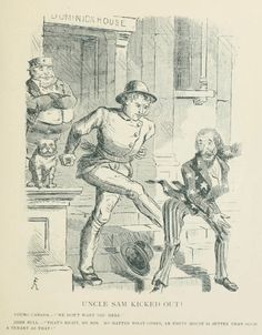 Uncle Sam kicked out - political cartoons - Wikimedia Commons Frederick William, Canadian Art, Political Cartoons, Being Ugly, Art History, Politics, Canada, Wikimedia Commons