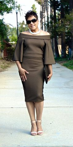 Chic off the shoulder top & skirt ensemble