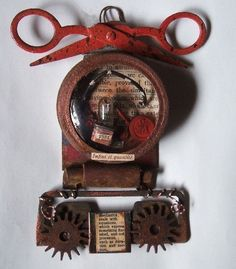 TIME and MACHINE Assemblage Found Objects ART Steampunk Laurie Dorrell