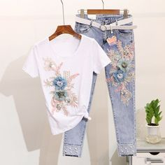 Women Summer Stylish Embroidery Flower Short Sleeved Tshirt+Heavy Work Jean Rippered Hole Denim Pants Suit Size S Color Whiteshirt Ripped Denim, Denim Pants, Women's Pants, Queen Style, T-shirt Und Jeans, Suits For Women, Clothes For Women, Basic Clothes, Embroidery 3d