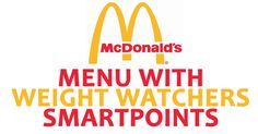 McDonald's Menu with Weight Watchers SmartPoints