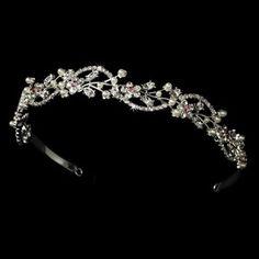 Elegance by Carbonneau HP-392-P Pink Vine Bridal Tiara HP 392