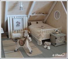 child's bedroom Dollhouse Miniatures and Accessories Vitrine Miniature, Miniature Rooms, Miniature Houses, Miniature Furniture, Dollhouse Furniture, Barbie Furniture, My Doll House, Doll Houses, Dream Doll