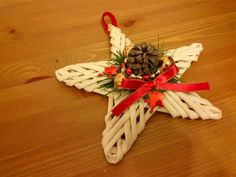 Stella di Natale con cannucce di carta Christmas star paper wicker