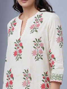 Pink White Hand Block Printed Cotton Suit - Set of 3 Printed Kurti Designs, Simple Kurti Designs, Kurta Designs, Blouse Designs, Neck Designs For Suits, Neckline Designs, Dress Neck Designs, Salwar Neck Patterns, Salwar Pattern