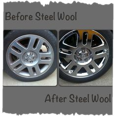Steel wool to clean your chrome rims. Nothing needed but some elbow grease and a steel wool pad or two. Just rub the chrome and it cleans and polishes at the same time. Car Cleaning Hacks, Car Hacks, Deep Cleaning, Car Paint Repair, Car Repair, How To Clean Chrome, Rims For Cars, Car Restoration, Steel Wool