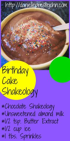 One of my favorite Shakeology Recipes! Birthday cake complete with sprinkles!!