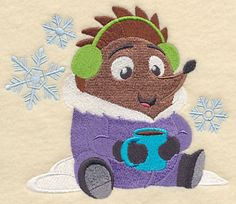 Hot Cocoa Hedgehog Machine Embroidery Designs at Embroidery Library! -