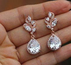 rose gold jewelry rose gold earring bridal earrings rose gold wedding earring
