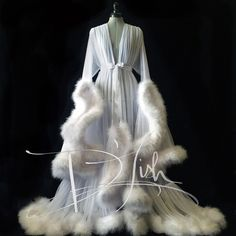 """Image of White """"Cassandra"""" Extravagant Dressing Gown"""