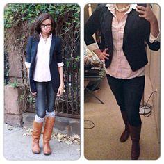 Navy Blazer-T.J. Maxx Pink Stripe Button Down-Goodwill Jeans-Gap Outlet Boots-Target