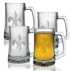 Get a taste of France from these fleur-de-lis glass tankards. Whether you want to drink beer, cider, or orange juice, these stylish glasses make a great addition to your bar set. They hold 15 ounces of drink, so your thirst can be sufficiently slaked.