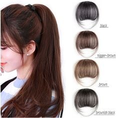 Womens Soft Clip-In Air Bangs Fringes With Sideburns Hair Extension Hairpieces Fake Bangs, Bob With Bangs, Mega Hair Tic Tac, Sideburns, Clip In Hair Extensions, About Hair, Eye Make Up, Fringes, White Women