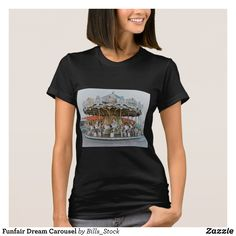 Funfair Dream Carousel T-Shirt - Fashionable Women's Shirts By Creative Talented Graphic Designers - #shirts #tshirts #fashion #apparel #clothes #clothing #design #designer #fashiondesigner #style #trends #bargain #sale #shopping - Comfy casual and loose fitting long-sleeve heavyweight shirt is stylish and warm addition to anyone's wardrobe - This design is made from 6.0 oz pre-shrunk 100% cotton it wears well on anyone - The garment is double-needle stitched at the bottom and sleeve hems…