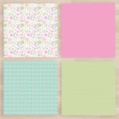 Shabby chic digital paper pink and blue digital by GraphicPassion