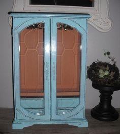 vintage upcycled Aqua Blue Jewelry box  large by MamaLisasCottage, $74.00