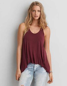 AEO Soft & Sexy Hi-Lo Jegging Tank , Purple | American Eagle Outfitters
