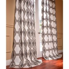 Sorong Grey Printed Cotton Pole Pocket Curtain Panel | Overstock.com Shopping - The Best Deals on Curtains