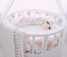 2 Meter Long Baby Bed Bumper Plush Baby Crib Protector For Newborns Baby Baby Room Design, Baby Room Decor, Nursery Decor, Girl Nursery, Knot Cushion, Knot Pillow, Diy Tresses, Crib Protector, Baby Bumper