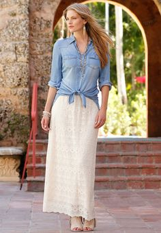 Rustic Charm | Enchant your everyday style in our lace maxi skirt and chambray…