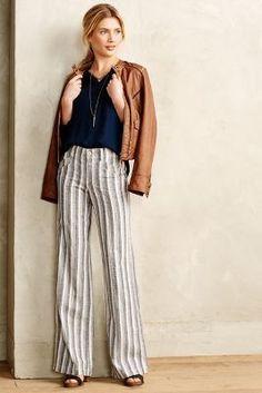 Pilcro Striped Linen Trousers Blue Motif Pants #anthrofave