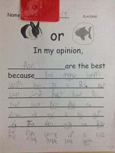 Opinion Writing (Kindergarten, first grade, second grade, student writing samples, writing workshop) Kindergarten Writing, Teaching Writing, Writing Activities, Writing Topics, Teaching Ideas, Literacy, Second Grade Writing, First Grade Reading, Opinion Writing