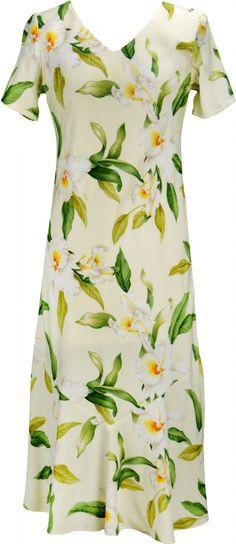 Aloha Kai Ladies Rayon Bias Cut VNeck Dress in Beige