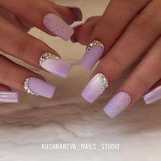 Purple Wedding Nails, Purple Ombre Nails, Purple Acrylic Nails, Purple Nail Art, Lilac Nails Design, Ombre Nail Designs, Nail Art Designs, Gorgeous Nails, Pretty Nails