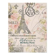 Mod Flourish Eiffel Tower Parisian Bridal Shower Invites