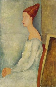 Portrait of Jeanne Hebuterne by Amedeo Modigliani, 1918. Expressionism. The Barnes Foundation, Merion, Pennsylvania, USA.