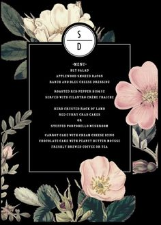 Night Blossoms - Signature White Menu Cards in Black or White Bg Design, Layout Design, Print Design, Menu Card Design, Restaurant Menu Design, Hotel Menu, Wedding Menu Cards, Wedding Invitation Design, Invitation Layout