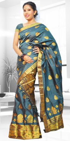 Beautiful Teal colour Assam silk pat Mekhla Chadar with artistic Guna work giving a stylish look to the two piece. This gorgeous collection is perfect for any festive occasion.The Mekhla Chadar is a two pc. Saree which comes with matching blouse piece, the blouse shown in the image is just for display purpose.Slight colour variation may be there in display & acutal.