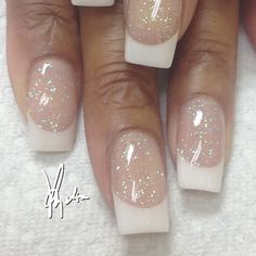 Tammy Taylor colored acrylic over natural nails..white (WW) acrylic at tip with clear iridescent glitter acrylic on nail bed... ALL FREEHAND and no drills used #tammytaylornails #notpolish #nashville #nails #freehand #acrylicnails