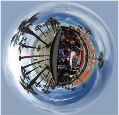 Composición esférica en la toma de datos en un proyecto de Realidad Virtual en autobús.
