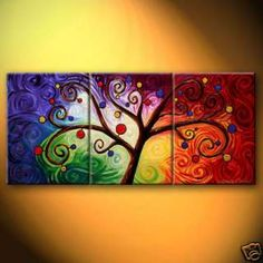 Abstract Large oil painting On Canvas Art   Tree of Life... Want to do something similar but with one large canvas in the center and two smaller ones on the side.