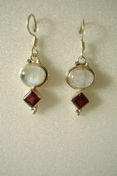 8efc89fd1 925 Earrings Oval Moonstone & Diamond-shaped Garnet Gemstone Carved Vintage  Bezel Solid Silver Dangle Drops