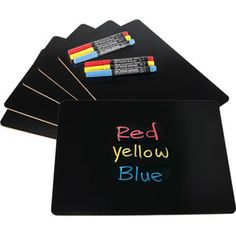 Love the idea of these black dry erase boards for my classroom.