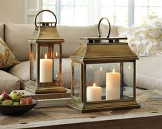 Using Lanterns in a coffee table Vignette