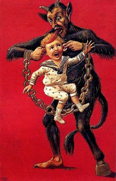 Using his Miley Cyrus tongue to torture this poor child. 21 Vintage Postcards Of Krampus That Will Haunt Your Dreams Dark Christmas, Merry Christmas, Christmas Markets, German Christmas Traditions, Arte Zombie, Dark Fantasy Art, Macabre, Vintage Postcards, Vintage Art