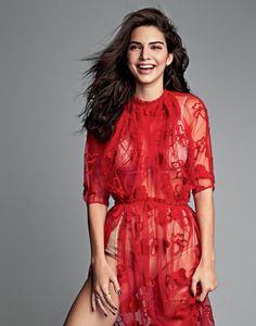 Kendall Jenner cracks a smile in red lace dress for Allure Magazine October 2016