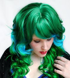 HALLOWEEN SALE  EMERALD Gem wig // Green Blue by MissVioletLace, $124.00
