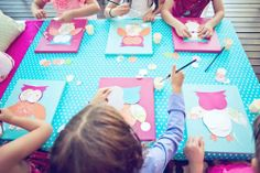 Create owl canvas. Each girl receives a pre-painted canvas and a bag with pieces to glue on & make an owl. Such a cute slumber party activity! Could make anything, flowers...etc.