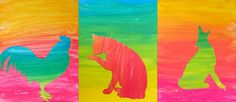 Silhouette in color gradations