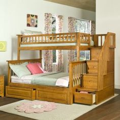 Twin over full bunk bed with trundle and storage stairs! Perfect for kid's guest room!