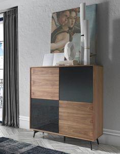 "Aquila walnut and glass storage cabinet 43"" wide, 48.81"" tall, 17.71"" deep"
