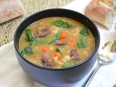 Navy Bean Soup with Sausage & Spinach - Budget Bytes