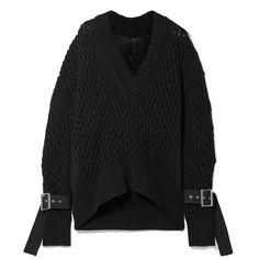 Sacai Embellished cotton-blend sweater (€755) ❤ liked on Polyvore featuring tops, sweaters, black, sacai, over sized sweaters, oversized sweaters, embellished top and embellished sweaters