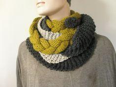 Grey-beige-green handmade knitted scarf