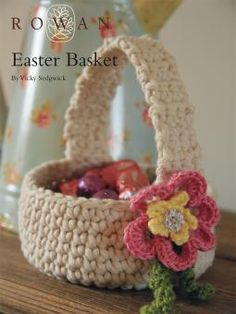 Easter Basket - free crochet pattern by Vicky Sedgwick. Free registration required with Rowan to download.