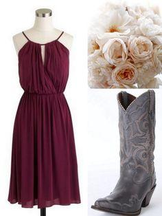 Cranberry-Red-Bridesmaid Dress Ideas-Lisa Sammons Events,Rustic, J. Crew, Cowboy boots